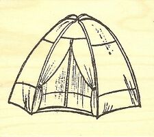 Camping Tent Wood Mounted Rubber Stamp NORTHWOODS F9790 New