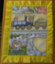 BUNNY LOVE TRAIN Fleece & Satin Baby/Toddler Security Blanket