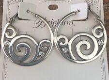 Brighton Silver LONDON GROOVE Hoop Earrings NWT Swarovski crystal