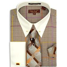 Henri Picard Brown / Cream Cotton / Poly Blend Dress Shirt / Tie / Cufflink Set
