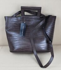 French Connection Corey Tote Brown Faux Leather Pebble Hobo Bag Shoulder Bag New