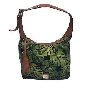Rare HTF Dooney & Bourke Paige Sac Tropical Monstera Nylon Hobo Bag Black