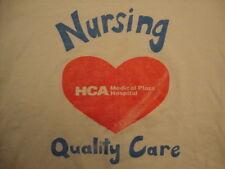 Vintage HCA Medical Plaza Hospital Nursing Quality Care White T Shirt Size L