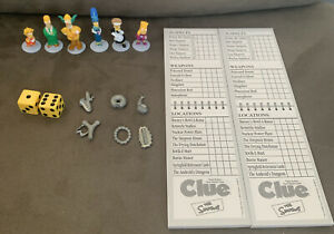 The Simpsons Clue-Board Game Replacement Game Figure Pieces Tokes, Weapons & Pad
