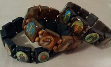SET OF 3 WOODEN BRACELETS W/ IMAGES OF THE HOLY FAMILY and OTHER RELIGIOUS ICONS