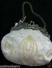 Pretty Nina Hand Made White Silk Satin Beaded Evening Frame Clutch Purse Bag