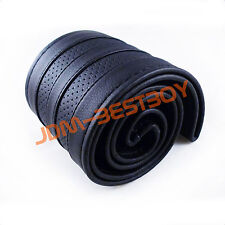 Leather Steering Wheel Cover With Needles & Thread DIY BLACK SIZE M USA