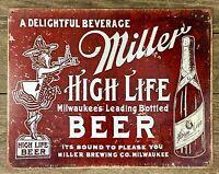 MILLER HIGH-LIFE BEER Vintage Tin Metal Sign