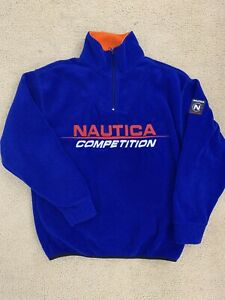 Mens Vintage Style Nautica Competition Fleece Pullover Size M