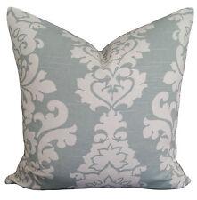 Berlin Slub Snow Blue Ivory Damask Vintage Decorative Pillow Cushion Cover
