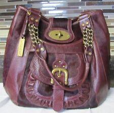 Lockheart Royale Burgundy Leather Calf Hair Floral Hobo Shoulder Bag Purse