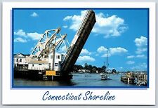 Mystic River Bascule Bridge Mystic, Connecticut Shoreline Continental Postcard