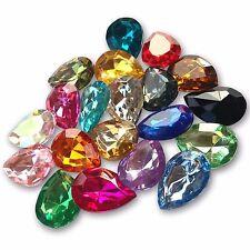 13x18mm TEARDROP Shape Acrylic Crystal Rhinestone Cabochon Embellishment Gems