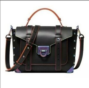 Michael Kors Manhattan Medium Handle School Black Oil Slick Satchel Purse Bag