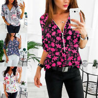 Women Long Sleeve Fashion Blouse Shirt Floral Print V-neck Ladies Top 67UK