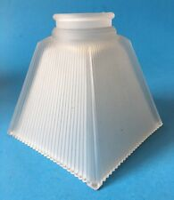 Vintage Frosted Square Ribbed Glass Shade Floor Lamp or Ceiling Fan Replacement