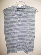 DKNY Women's Size Small Gray Striped Sleeveless Sweater Vest 100% Linen