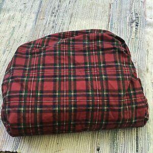 Lauren Ralph Lauren Sheet Bed Plaid TWIN Fitted Red Green Xmas Tartan Cabin Euc