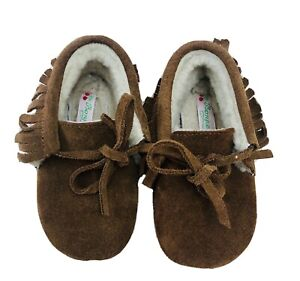 Unused Bonpoint Brown Suede Baby Booties With Shearling Interior, Size EU19/UK3