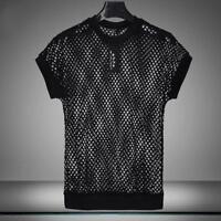 Mens Stretch Short Sleeve Fishnet Mesh See Through T-shirt Gothic Punk Rock Tops
