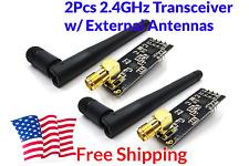 2Pcs NRF24L01 + PA + LNA NRF2401 NRF24 2.4GHz Transceiver External Antennas  USA
