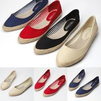 Women Loafers Espadrilles Pointed Toe Canvas Slip-On Flats Breathable Boat Shoes