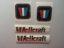 4 Wellcraft Marine Vinyl decals 2 square & 2 chrome lettering 6 x 1 inch