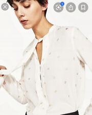 Zara Flowy Ivory Blouse With Gold Print Size XS UK 6/8