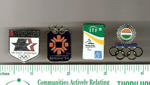 Lot of 4 Olympics pins > 2 from Beijing 2008 & LA & Sarajevo, 1984 > sports
