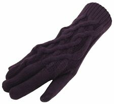 Pia Rossini Ladies April Long Cable Knit Gloves Plum