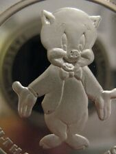 1-OZ.999 SILVER RARE PORKY PIG & BUGS BUNNY THAT ALL FOLKS 50TH ANNIVERSARY+GOLD