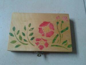 Handmade And Hand Stencilled Flower Design Wooden Box