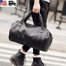 US Men's Black Travel Duffle Gym PU Leather Roll Luggage Shoulder Handbag Bag