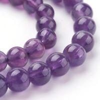 Strand 32+ 6mm Natural Amethyst Plain Round Beads UK