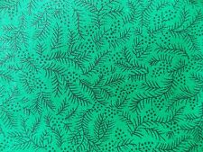 WtW Fabric Nature Garden Green Black Dot Branch Calico Twig Leaves Pattern Quilt