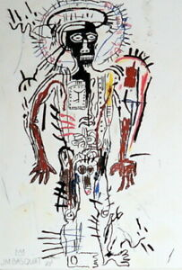 JEAN-MICHEL BASQUIAT / Authentic Colored Graphite on Paper, Signed & Dated. 83