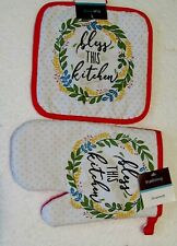 New listing Bless This Kitchen Oven Mitt & Hot Pad - 2 Piece Set