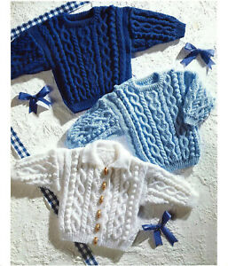 """Baby Boys Cable Jacket Cardigan sweater jumper KNITTING PATTERN DK 16 - 24"""" cosy"""
