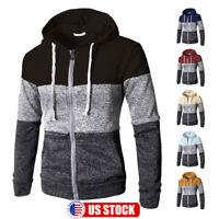 Men Warm Hoodie Hooded Sweatshirt Zip Coat Jacket Jumper Winter Sweater Outwear