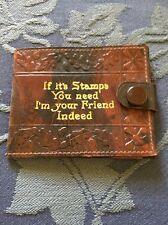 Vintage Antique Leather Stamp Wallet
