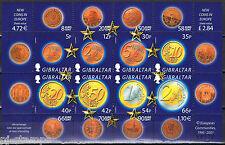 Gibraltar 2002 vel 989-996 invoering nieuwe munten in Europa