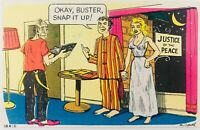 Vtg Laf Gram Humor Postcard Middle of the Night Marriage Okay Buster Snap it Up