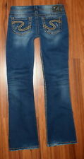 """WOMENS SILVER FRANCES 18"""" DISTRESSED BOOTCUT STRETCH FIT JEANS SIZE 29X31"""
