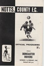 NOTTS COUNTY v DONCASTER ROVERS ~ 1 FEBRUARY 1969 ~  FOOTBALL PROGRAMME