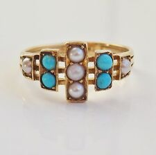 Stunning Antique Victorian 18ct Gold Cabochon Turquoise & Pearl set Ring c1890