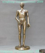 Chinese Bronze Nude Human Man Body Model Acupuncture Point Medicine Props Statue