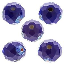 Dark Blue Faceted Rondelle Millefiori Glass Beads 10mm Pack of 5 (D30/3)