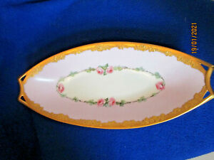 VTG HUTSCHENREUTHER SELB BAVARIA FAVORITE GOLD TRIM LOW OVAL BOWL PINK RIM HAND