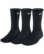 3 Pair Authentic Nike Men's Work/Athletic Cushioned Crew Socks, Black, Size 8-12