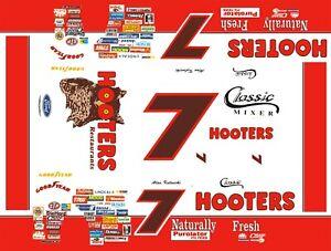 #7 Alan Kulwicki Hooters Thunderbird 1/43rd Scale Slot Car Decals